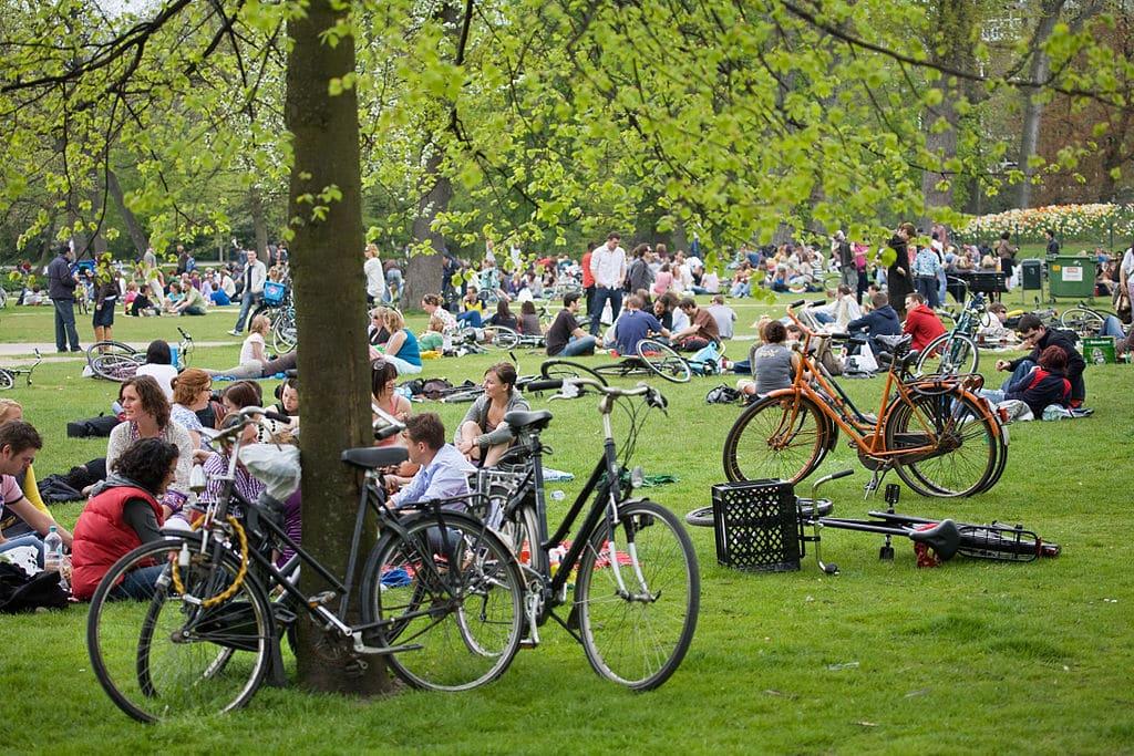 Pique nique à vélo dans le Vondelpark d'Amsterdam.