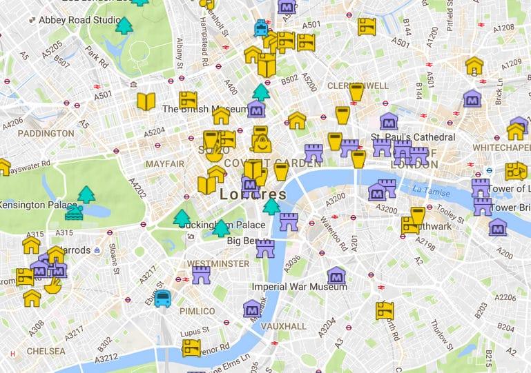 Carte détaillée de Londres avec tous les lieux du guide ...