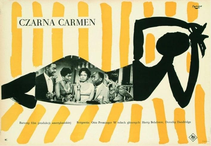 """Affiche de Wojciech Fangor """"Czarna Carmen"""" d' Otto Preminger (1959)."""