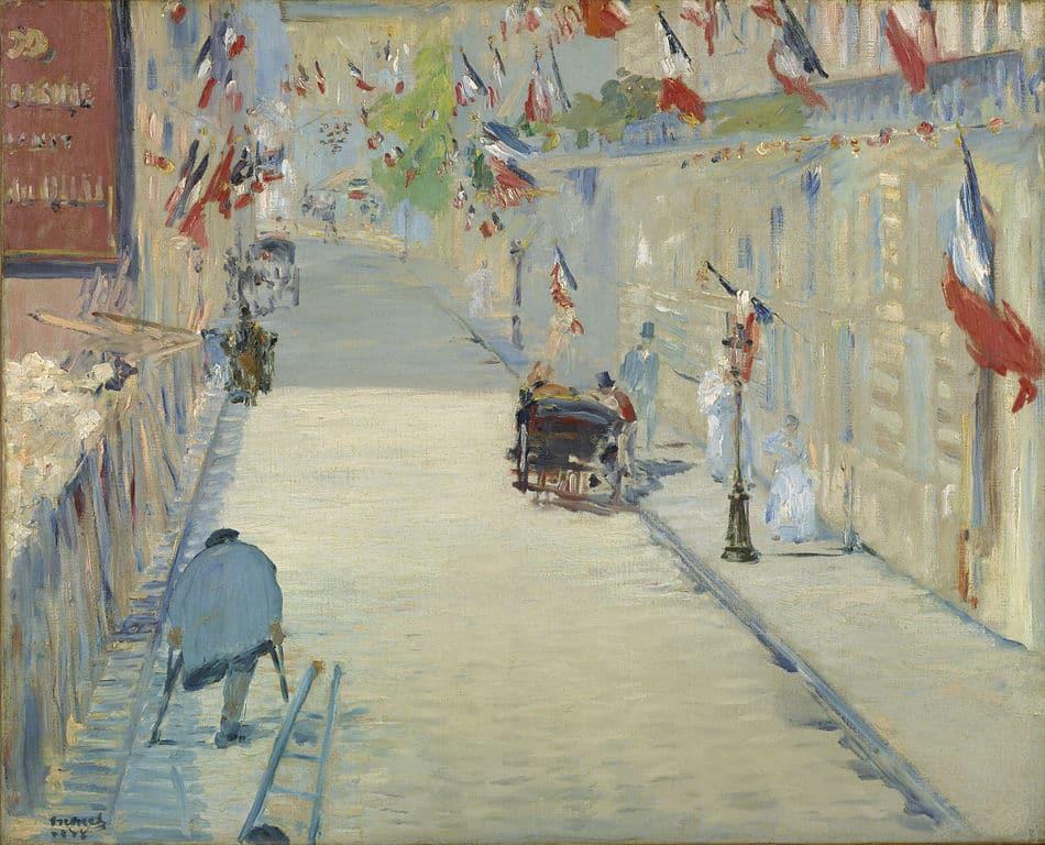 """Toile d'Édouard_Manet """"La rue Mosnier avec drapeaux"""" (1878) au Getty Center, musée d'art de Los Angeles."""
