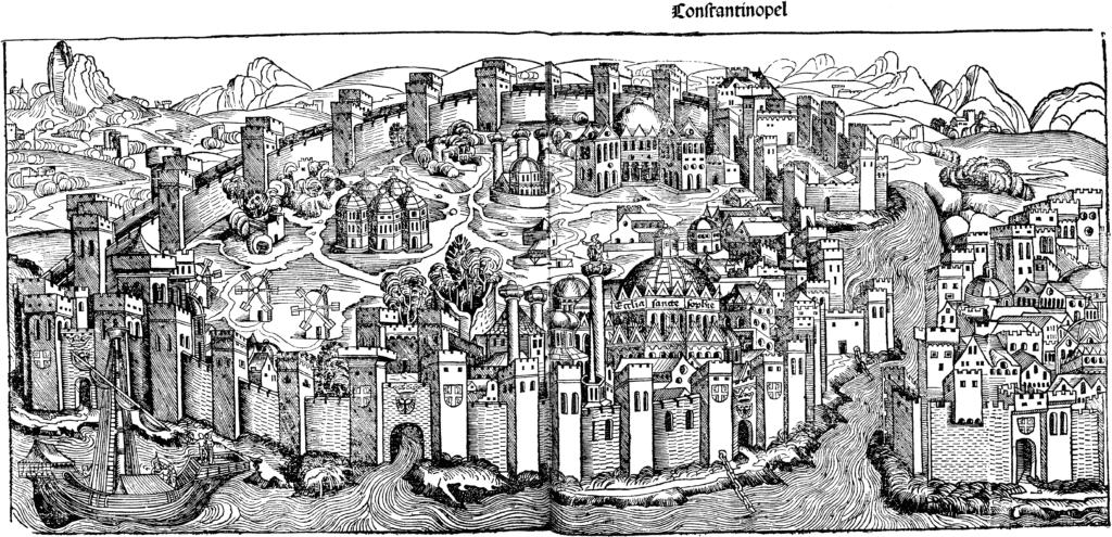 Constantinople vers 1400 avec la Cathédrale de Sainte Sophie au premier plan.