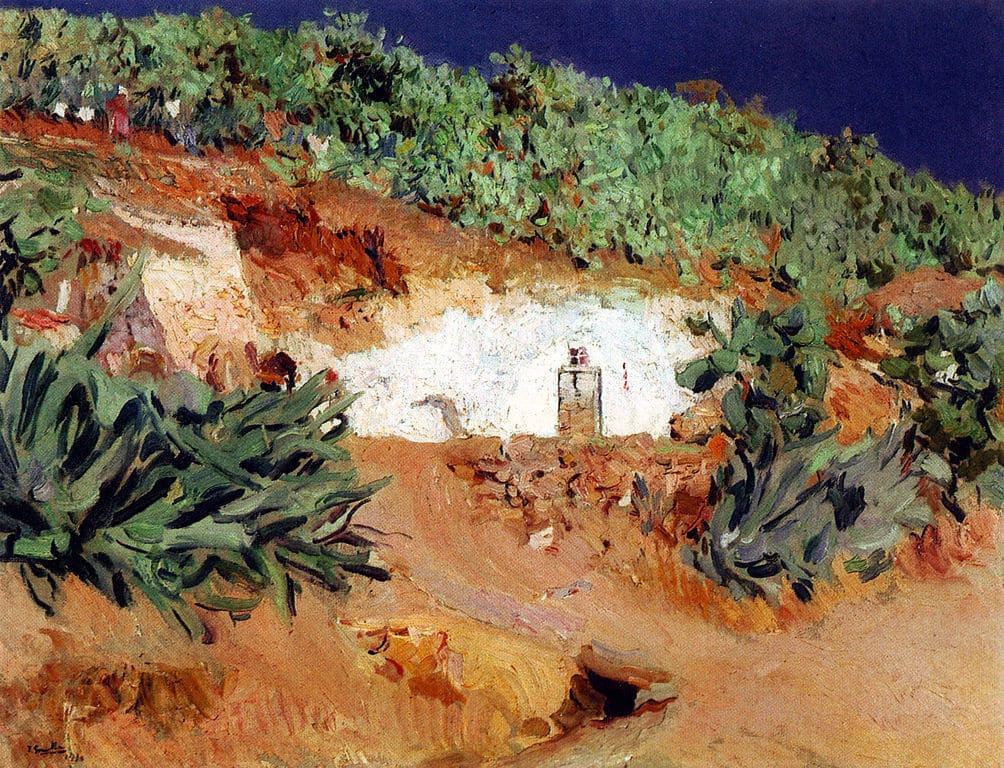 Peinture de Grenade de Joaquín Sorolla : Maison gitane creusée dans la roche.