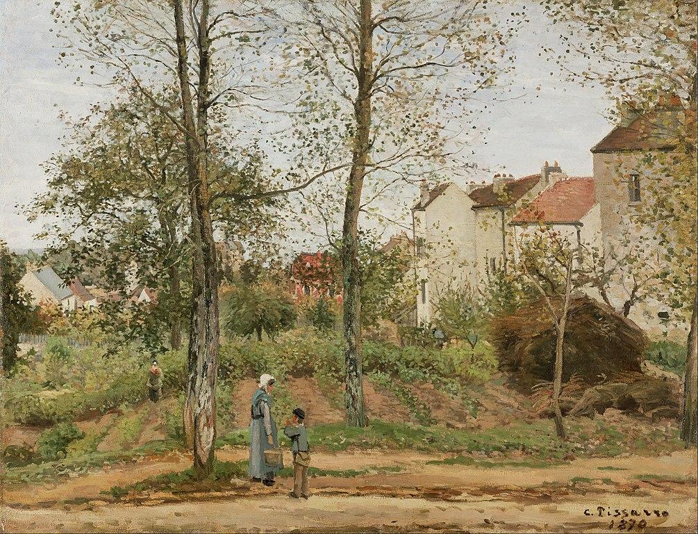 """Toile de Camille Pissarro """"Maisons à Bougival (Automne)"""" (1870) au Getty Center, musée d'art de Los Angeles."""