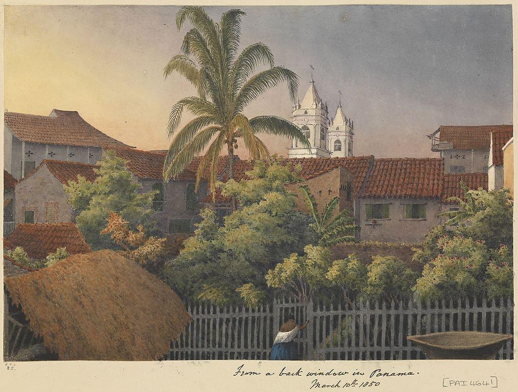 > Paysage de Panama (1850) Aquarelle d'Edward Gennys Fanshawe au musée de la mer à Londres.