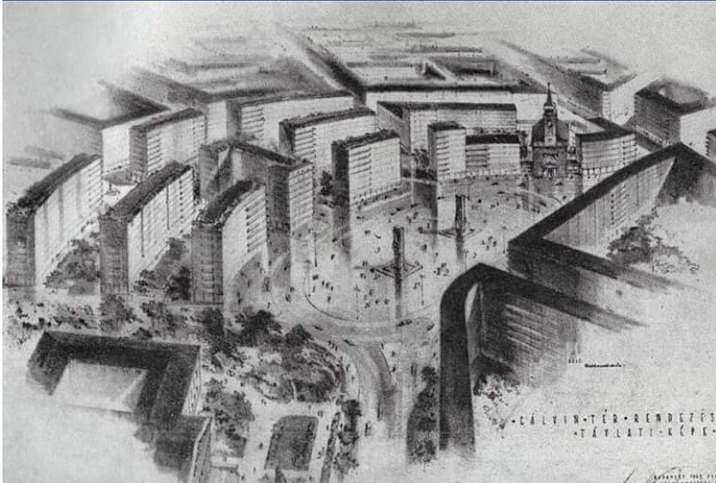 Plan de reconstruction en 1948 du quartier autour de Kalvin ter à Budapest.