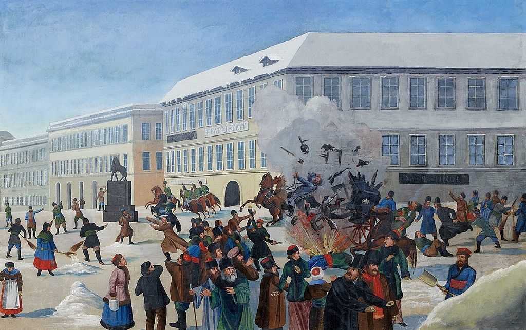 Attentat de 1881 contre l'empereur Alexandre II sur le lieu où sera construit la cathédrale Saint-Sauveur-sur-le-Sang-Versé de Saint Petersbourg.