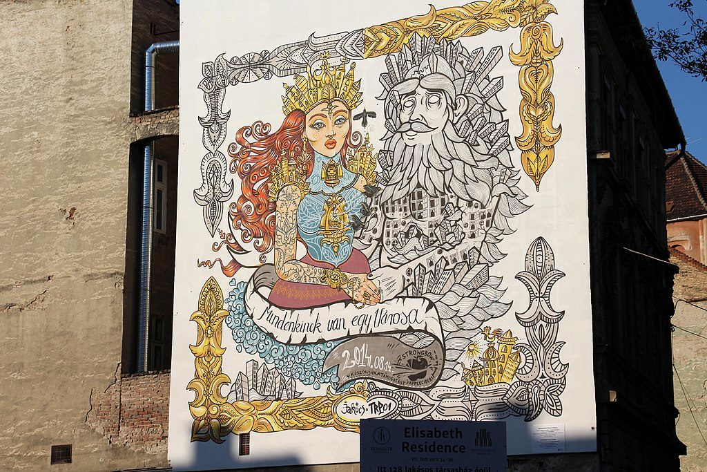 Street art : Mural de Budapest dans l'ancien quartier juif. Photo de Fred Romero