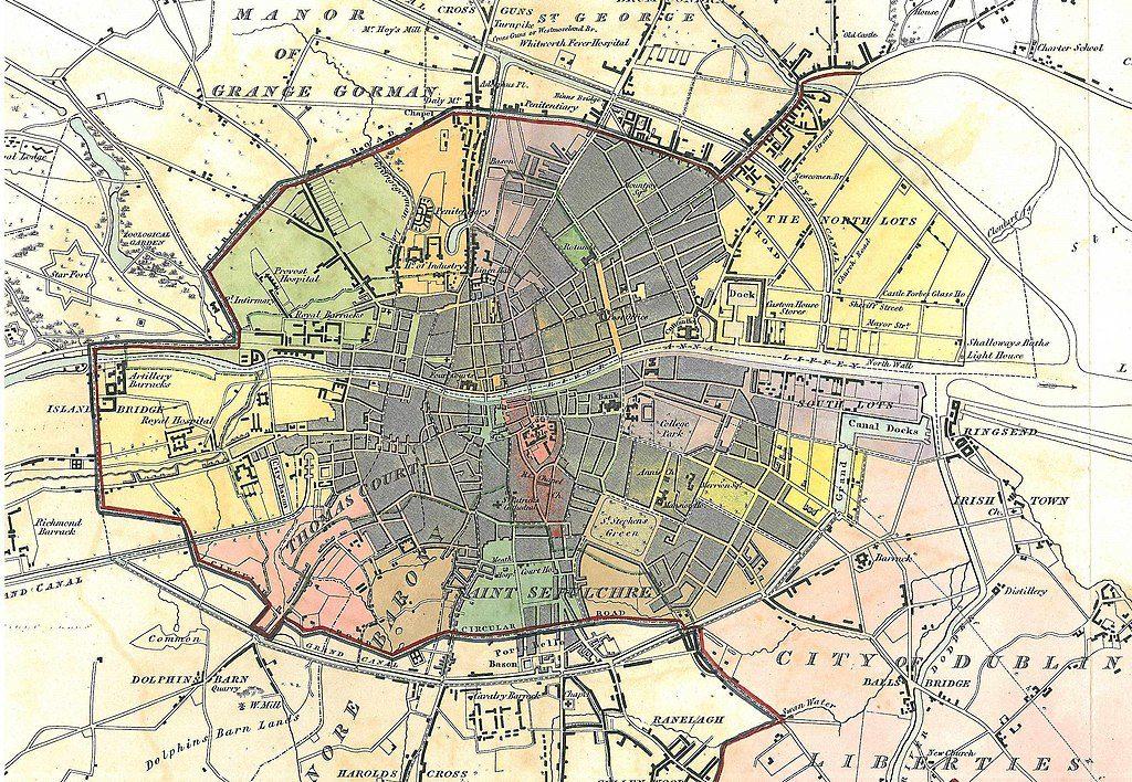Carte de Dublin en 1837.