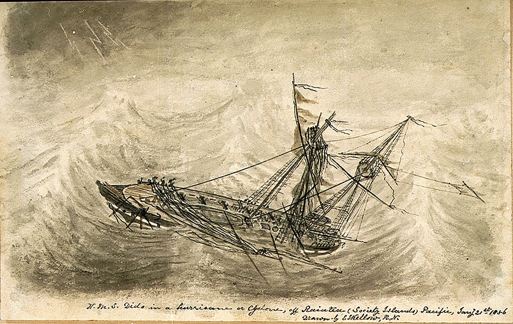 Musée de la mer à Londres : HMS Dido pris dans une tempête dans le Pacifique.