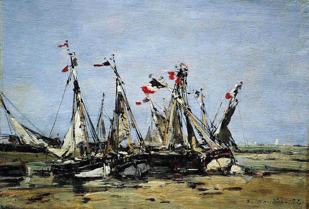 """Toile d'Eugène Boudin """"Trouville en attendant la marée"""" National Maritime museum de Londres."""