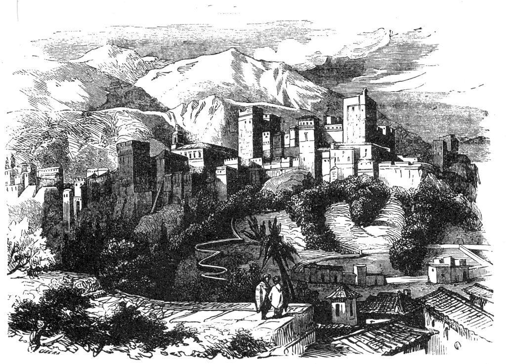 Illustration de l'Alhambra à Grenade avec les montagnes en arrière fond.