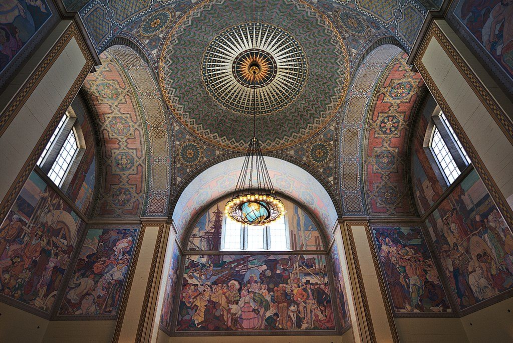 Mosaique et fresques de la principale bibliothèque municipale de Los Angeles - Photo de Daniel L. Lu dllu