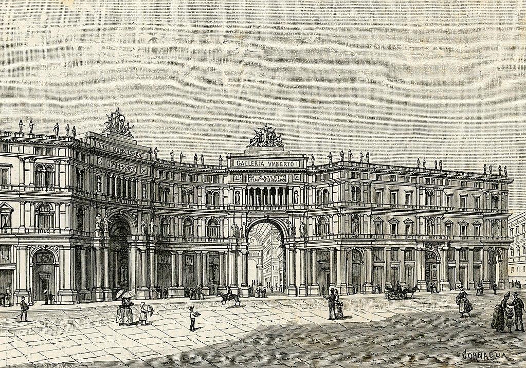 Façade de la Galerie Umberto I à Naples - Dessin de Carlo Cornaglia
