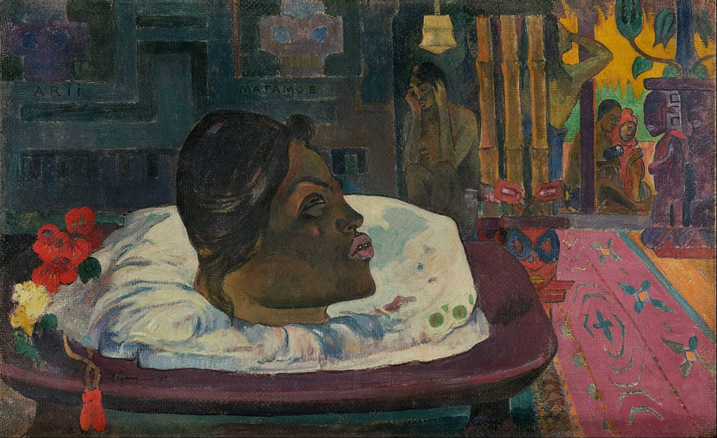 "Toile de Paul Gauguin ""Arii Matamoe (La fin royale)"" (1892) au Getty Center, musée d'art de Los Angeles."