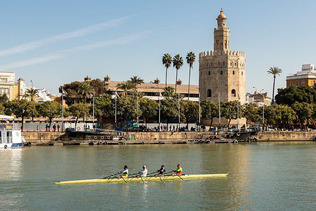 Aviron sur le Guadalquivir à Séville devant la Torre del Oro - Photo de Rafa Esteve