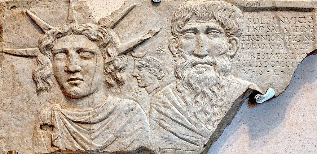 Antiquité : Stèle Sol Invictus au Musée des Thermes de Dioclétien à Rome - Photo Terme