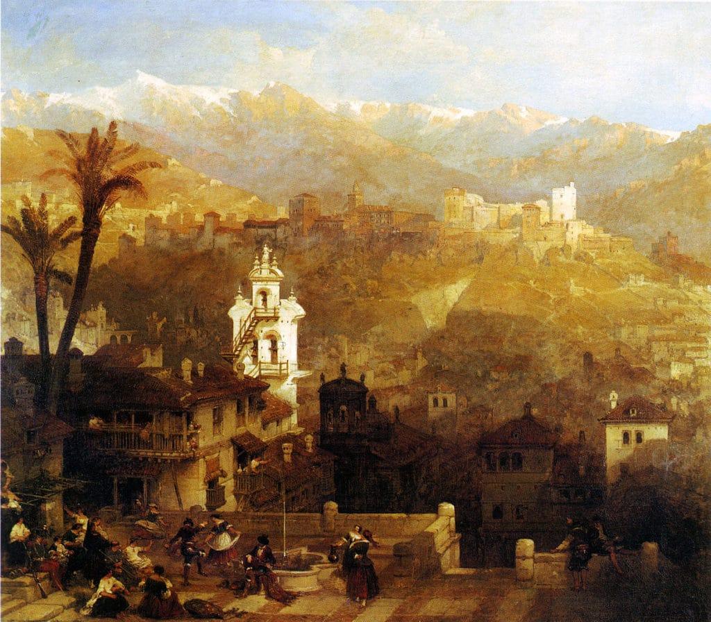 Toile de David_Roberts, l'Alhambra depuis le quartier de l'Albaicin.