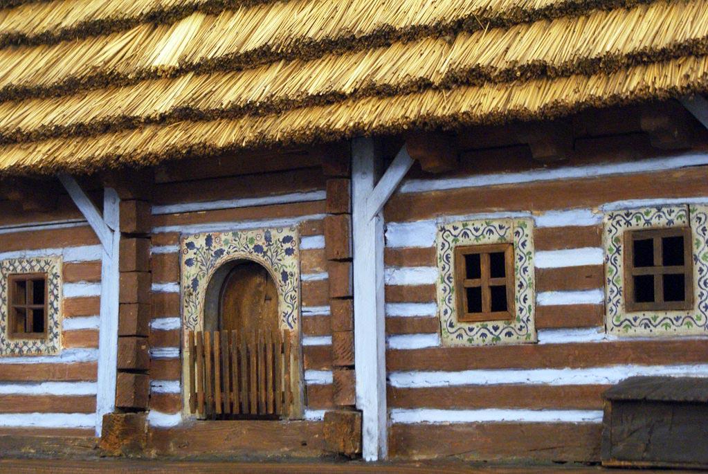 Maquette : Reconstitution d'une chaumière de la région de Cracovie (Petite Pologne). Musée ethnographique de Cracovie.