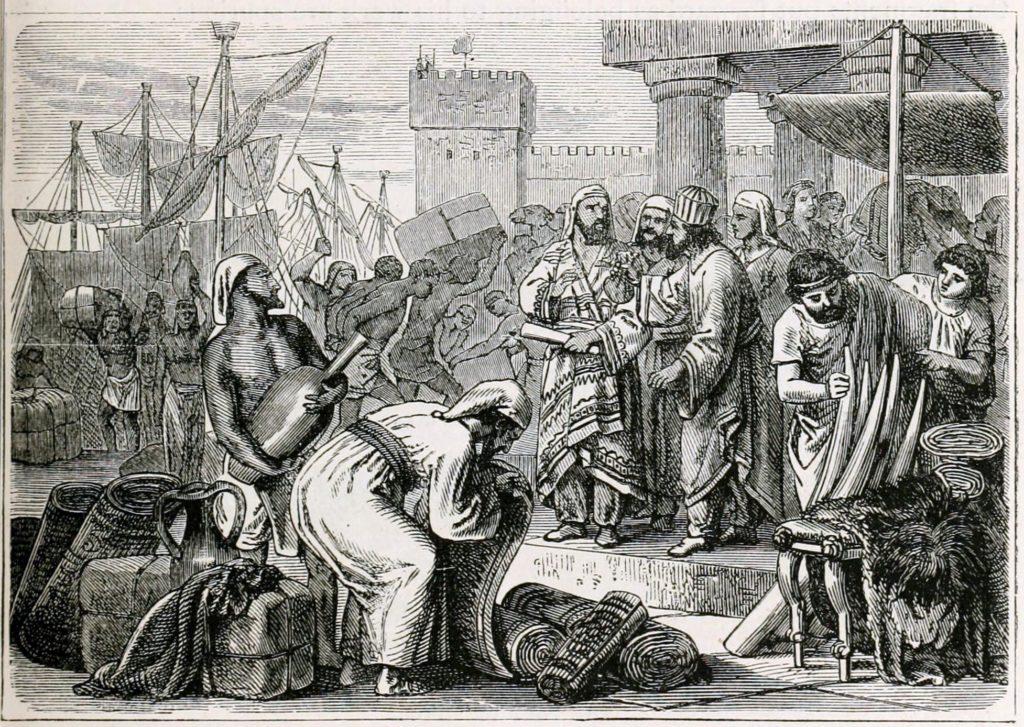 Illustration des Phéniciens : marins et marchands.