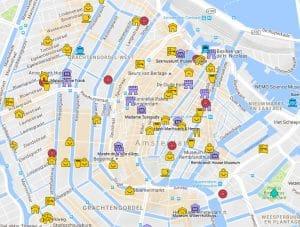 Carte d'Amsterdam : Plan détaillé des lieux intéressants