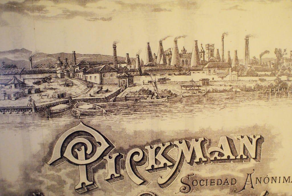 Vieille illustration de la manufacture de la Cartuja ou Pickman à Séville