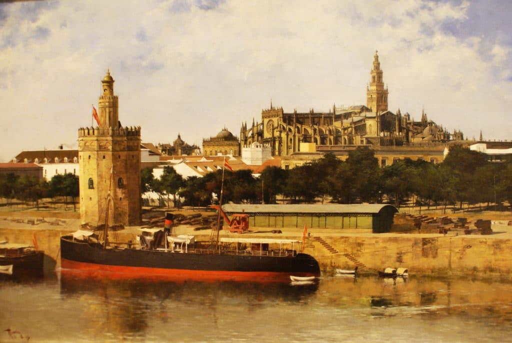 Peinture de la Torre del Oro avec la Giralda en arrière plan. Musée des Beaux Arts de Séville.