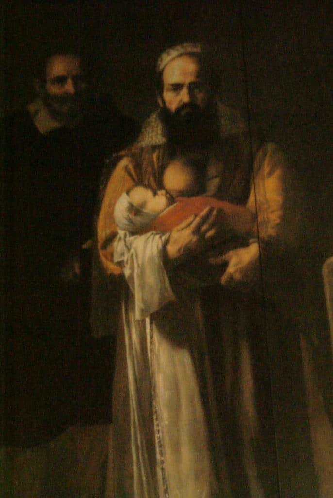 """Peinture tres bizarre """"La femme à la barbe"""" dans une des pièces du Palais de Pilate à Séville."""