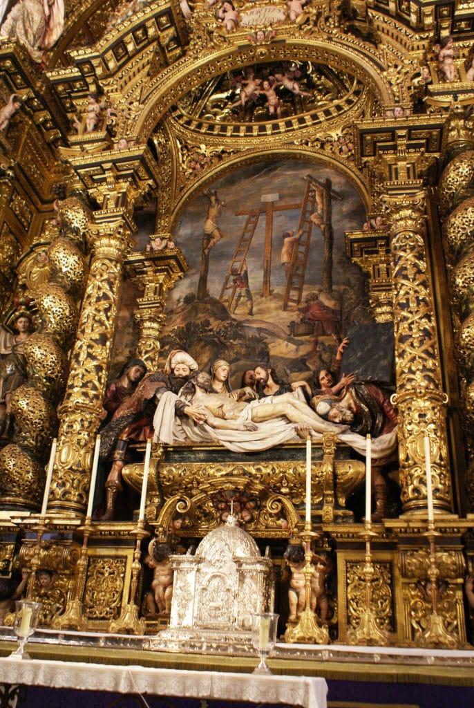 Maitre autel baroque de l'église San Jorge de l'hopital de la Caridad à Séville.