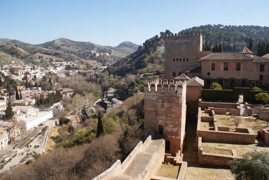 Vue sur une partie de l'Alhambra à Grenade.