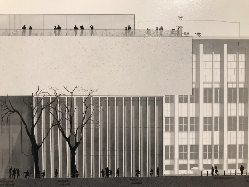 Vue de coupe du projet choisi pour le musée Wyspianski à Cracovie avec une terrasse panoramique sur le toit.