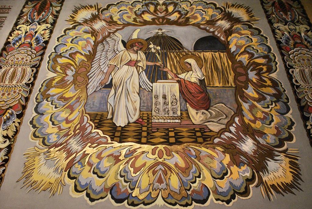 """Peinture de style """"art nouveau"""" de Jan Bukowski dans la chapelle de Lorette à Cracovie."""