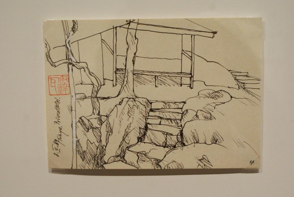 > Croquis d'un jardin de Tokyo par le réalisateur polonais Wajda au musée Manggha de Cracovie.