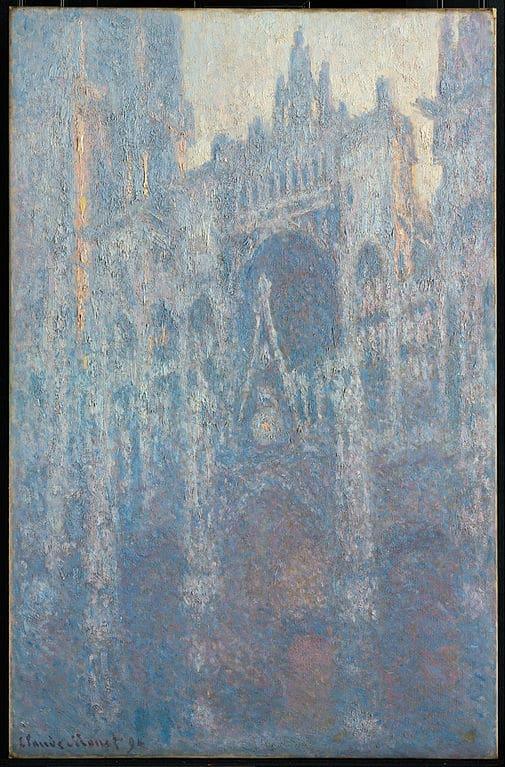 """Toile de Claude Monet """"Portrait de la Cathédrale de Rouen dans la lumière du matin"""" (1893) au Getty Center, musée d'art de Los Angeles."""