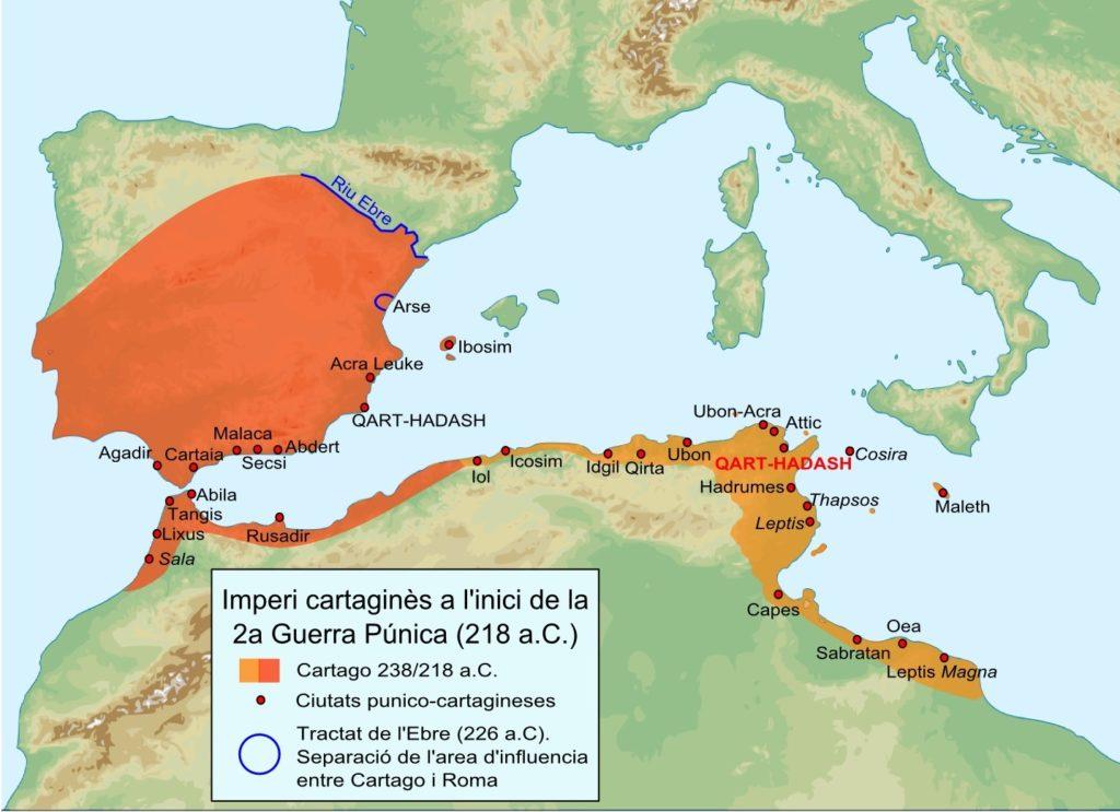 Carte du territoire sous la domination de Carthage avant la 2e guerre punique (-218 avant Jésus Christ).