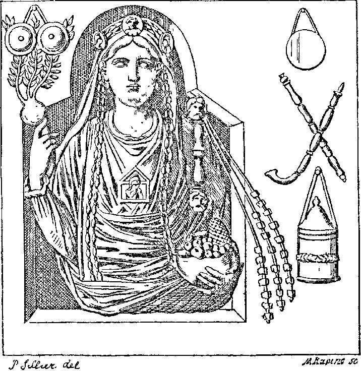 Représentation de Cybèle, Grande déesse de la fertilité. Elle deviendra la Marie chrétienne.
