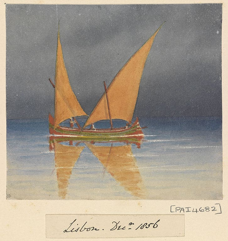 Voilier à Lisbonne (1856) Aquarelle d'Edward Gennys Fanshawe au musée de la mer à Londres.