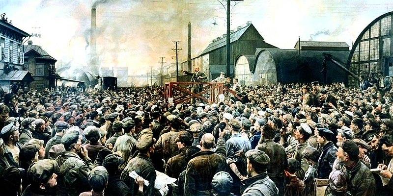 Discours de Lénine devant l'usine Putilov en mai 1917 (en non pas devant la gare de Finlande). Photo d'Isaak Brodsky