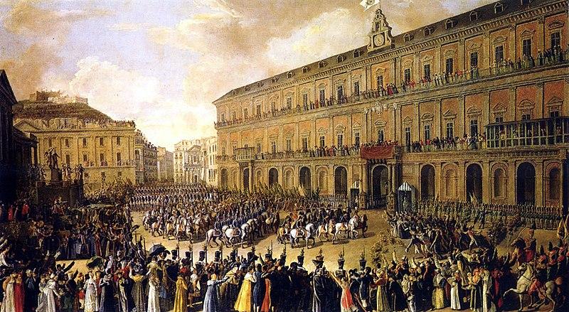 """Toile de Paolo Albertis """"Retour à Naples de Ferdinand I"""" avec une foule devant le Palais Royal."""