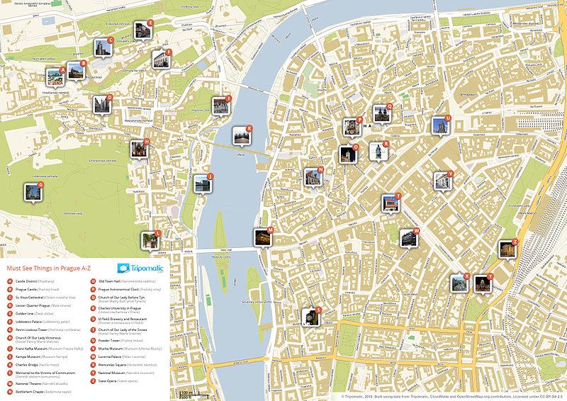 Carte de Prague : Plan détaillé des lieux intéressants