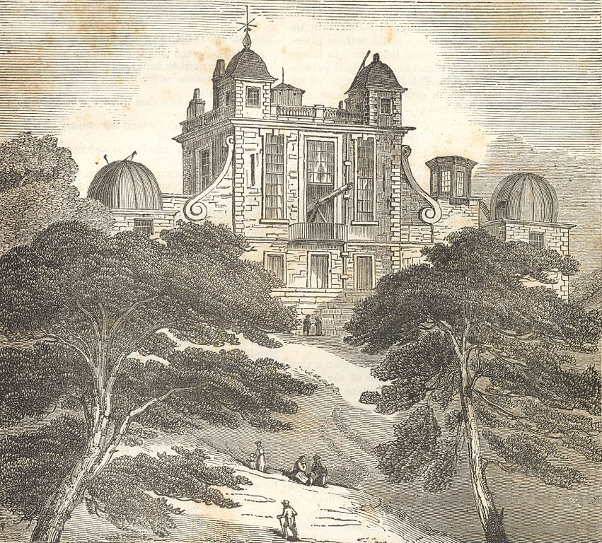Illustration de l'observatoire de Greenwich à Londres en 1833.