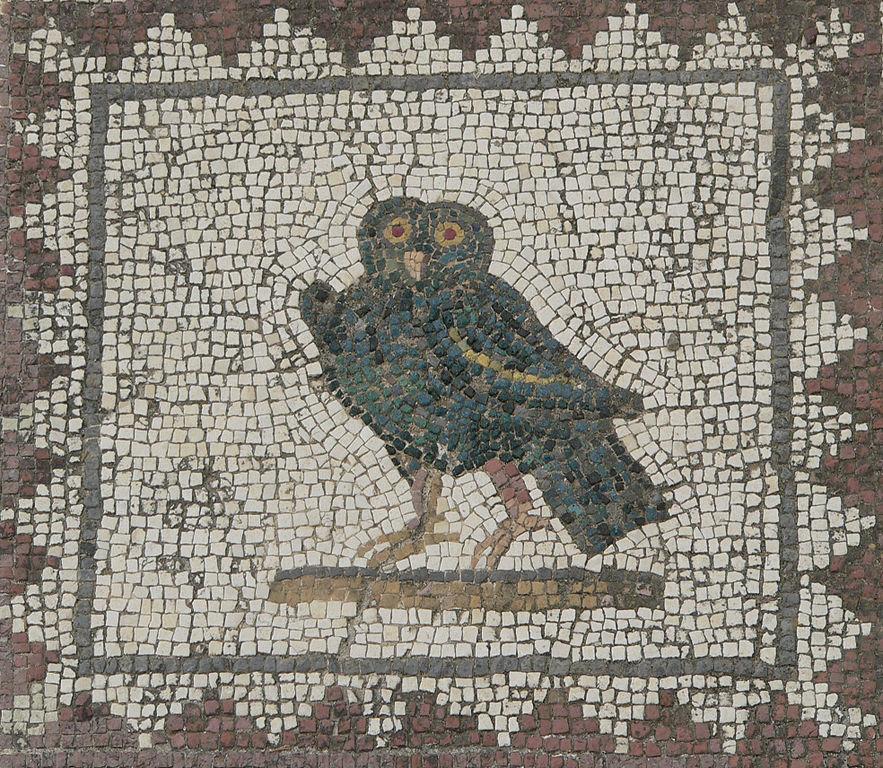 Mosaique de chouette sur le site romain d'Italica à Séville.