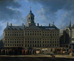 Palais Royal à Amsterdam, l'ancien hôtel de ville sur des piliers en bois [Vieille ville]