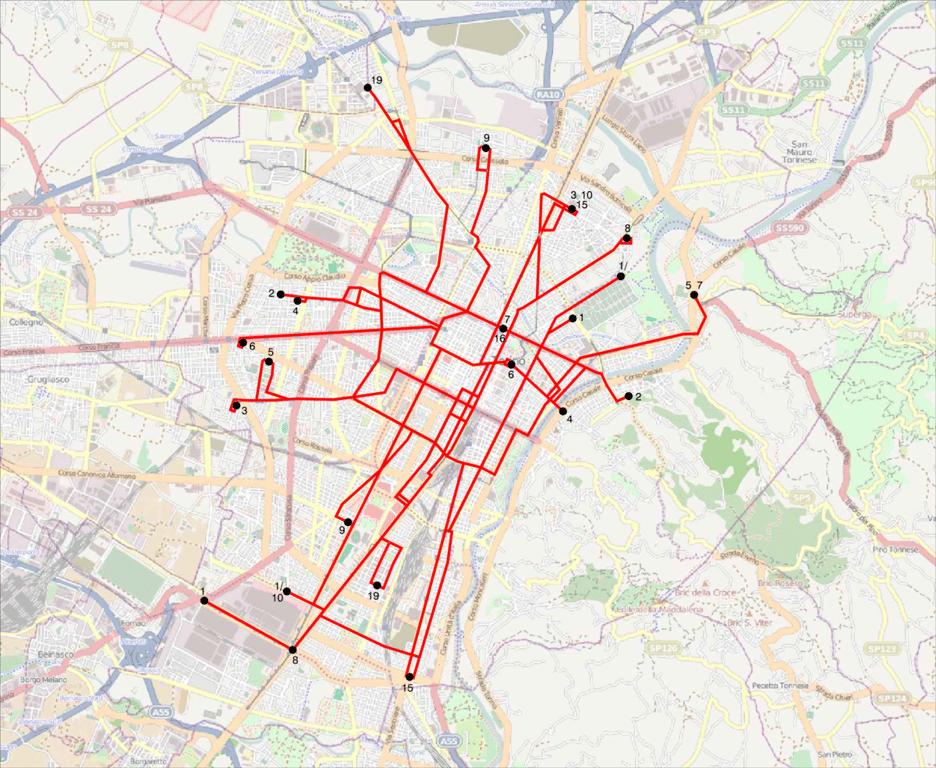 Carte de Turin : Plan détaillé des lieux intéressants