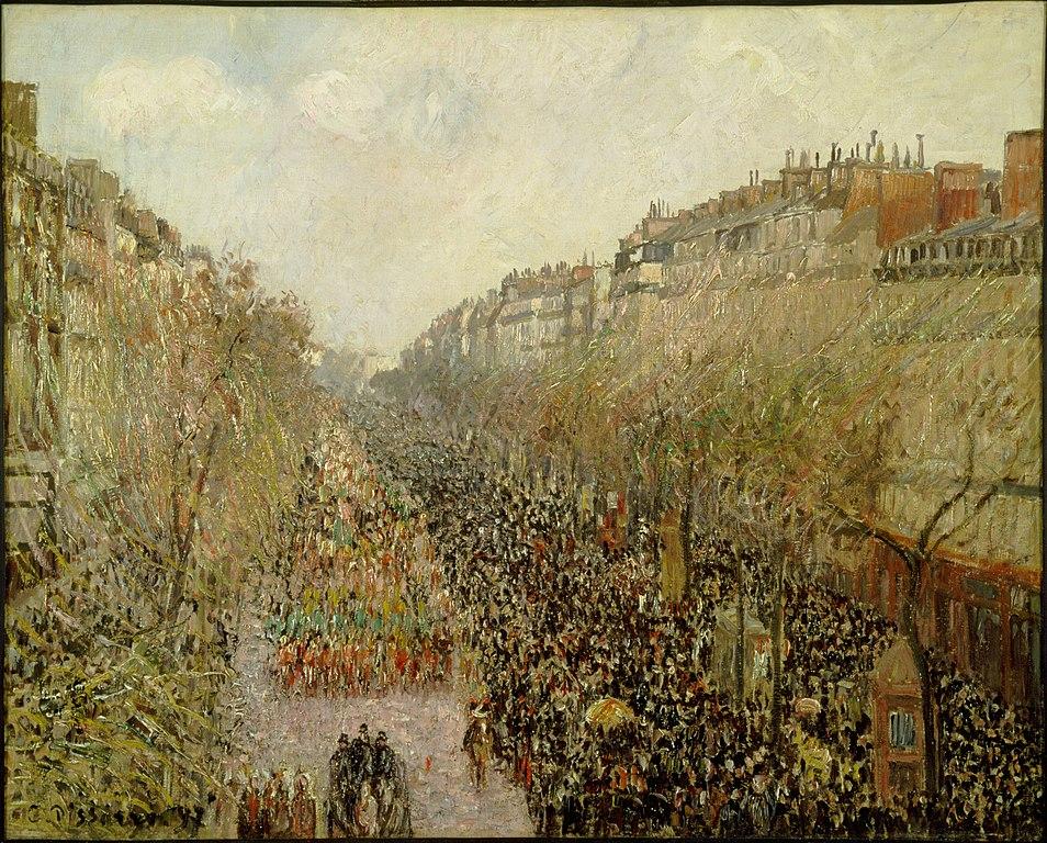 """""""Boulevard Montmartre Mardi Gras"""" Toile de Pissarro (1897) au musée d'art Hammer de Los Angeles."""