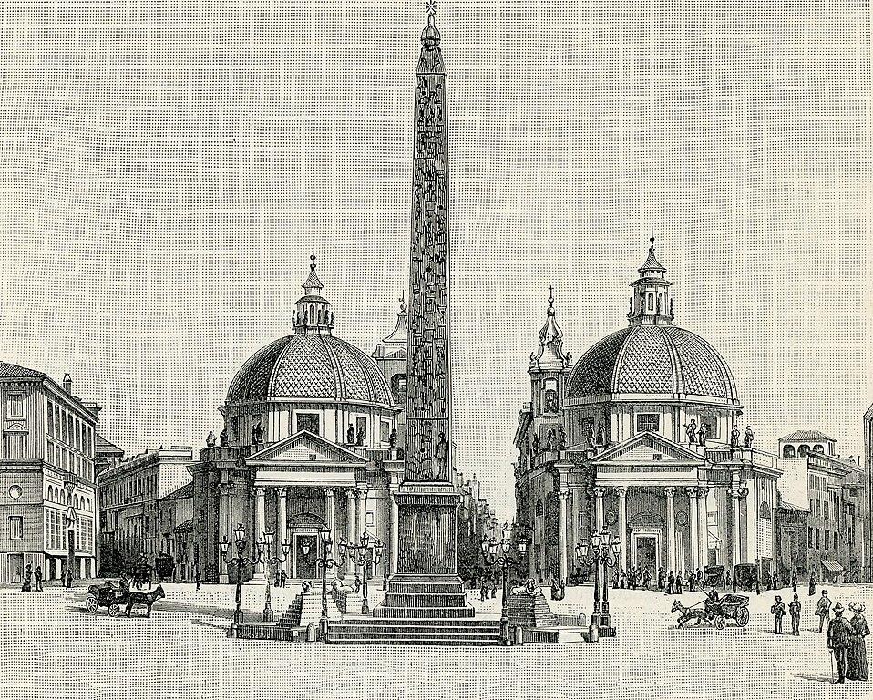 Santa Maria in Montesanto et Santa Maria dei Miracoli de part et d'autre de l'obélisque sur la Piazza del Popolo à Rome.