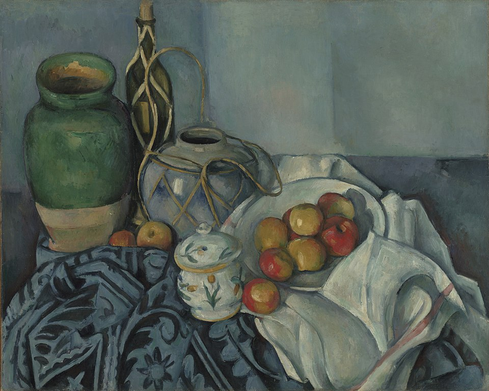 "Toile de Paul Cézanne ""Nature morte avec pommes"" (1893) au Getty Center, musée d'art de Los Angeles."