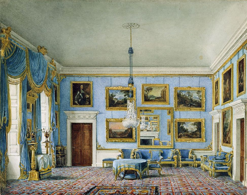Palais de Buckingham : Blue Velvet Room de James Stephanoff (1817).