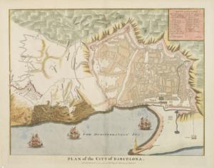 Anciennes cartes geographiques de Barcelone et maquette actuelle