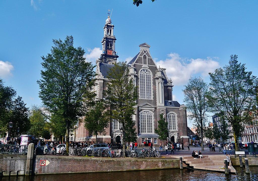 L'église de Westerkerk, l'église de l'ouest entre canaux et quartier de Jordaan à Amsterdam - Photo de Zairon