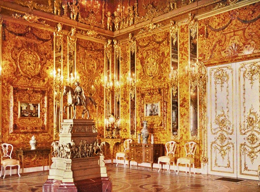 Chambre d'ambre au Palais Catherine près de Saint Petersbourg. Photo autochrome d'Andrey Zeest